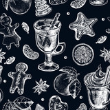Seamless decorative pattern with winter treats - gingerbread, warming drinks, tangerines, spices. Hand drawn Christmas and New Year's elements. perfect for design wrapping paper. Vector illustration. - 190758439