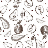 Decorative seamless pattern with Ink hand drawn apples and pears. ripe fruit texture. Vector illustration. - 190758479