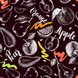 Decorative seamless pattern with Ink hand drawn apples, oranges, pears. ripe fruit texture. Vector illustration. - 190758608