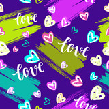 Valentine's Day Romantic seamless pattern with brush calligraphy style lettering and hearts. - 190758637
