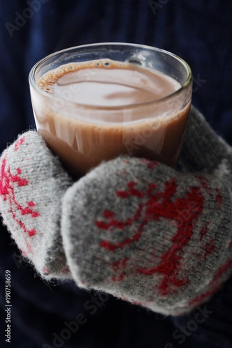 Foto op Canvas Chocolade Delicious thick hot chocolate and knit mittens