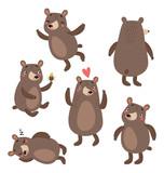 Bears cute vector set