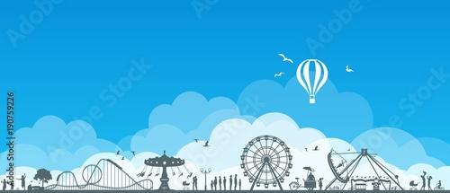 Fotobehang Blauw Silhouette Freizeitpark