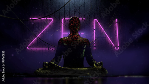 Staande foto Zen bio tech cyberpunk human figure sitting in lotus on urban futuristic background with hanging wires and purple neon letters zen on the wall 3d render illustration