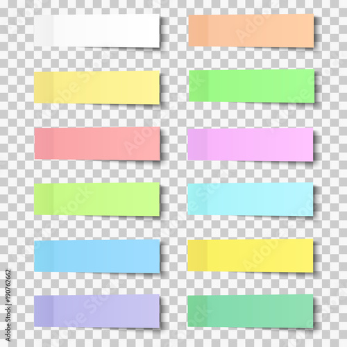 Post note stickers with shadow, paper sticky tapes set placed on transparent background. Vector office color post sticks.