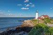 Portland Head Lighthouse in Cape Elizabeth, Maine, USA.  One Of The Most Iconic And Beautiful Lighthouses.