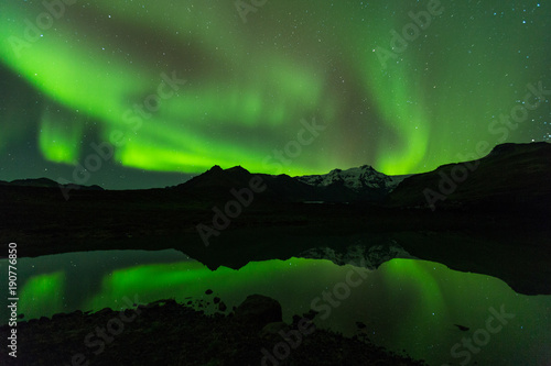 Fotobehang Zwart Lady Aurora Northern Lights Iceland