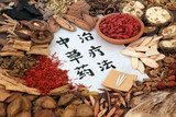 Chinese alternative medicine with herb selection and acupuncture needles with calligraphy script on rice paper. Translation reads as chinese herbal therapy.