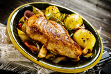 Roast chicken breast with potatoes on wooden background - 190786017