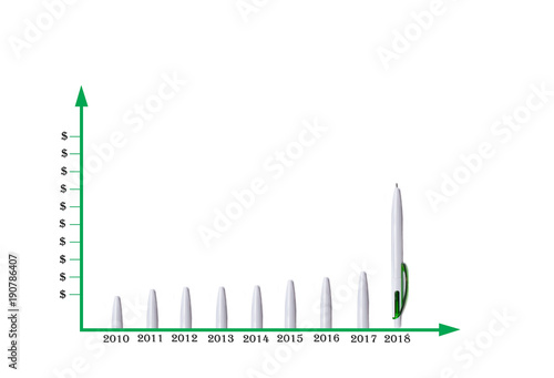 Fotobehang Abstractie Abstraction in the form of pens showing a graphic forecast of income in dollars in 2018