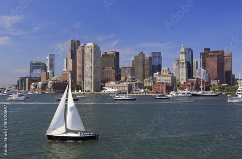 Fotobehang Zeilen Boston skyline and harbor, USA