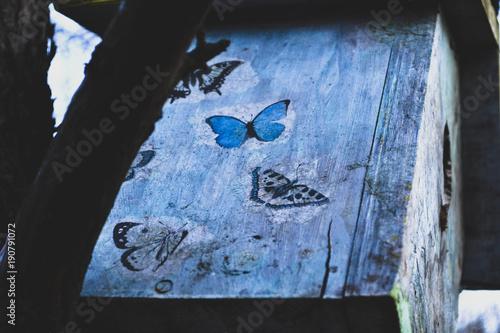 Foto op Canvas Zwart Colorful birdhouse on the tree. Nesting box.