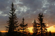 Picturesque sunset in hills. Northern Finland