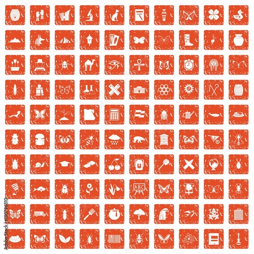 Tuinposter Vlinders in Grunge 100 insects icons set grunge orange