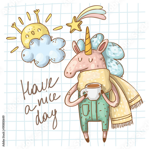 card with hand drawn unicorn