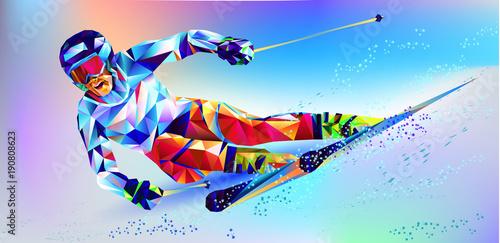 la-colorida-figura-poligonal-de-un-joven-snowboard-con-un-fondo-blanco-y-azul-ilustracion-vectorial-fondo-azul-en-un-triangulo-geometrico-de-estilo-xxiii-juegos-de-invierno