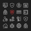 Internet security, data protection line icons. Modern graphic elements, simple outline thin line design symbols. Vector icons set
