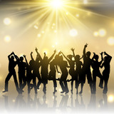 Party people on gold starburst background - 190816851