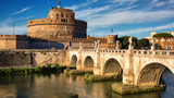 Ponte Sant Angelo in sunset light in Rome, Italy - 190816857