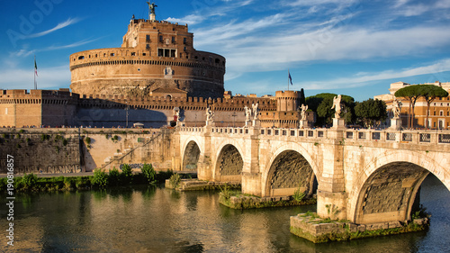 Foto op Plexiglas Rome Ponte Sant Angelo in sunset light in Rome, Italy