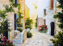"""Постер, картина, фотообои """"oil painting - Italian street, colorful watercolour"""""""