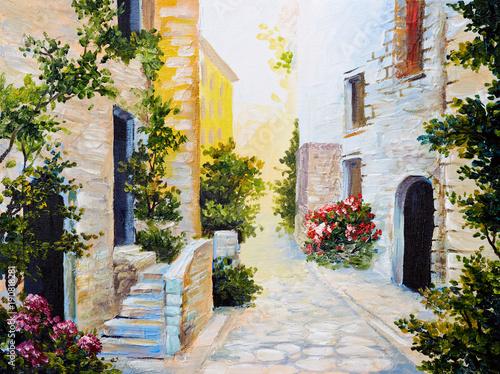 oil painting - Italian street, colorful watercolour © Fresh Stock