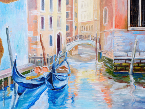 Oil painting, gondola in Venice, beautiful summer day in Italy, abstract drawing © Fresh Stock