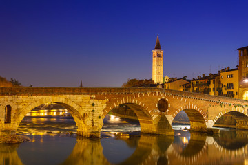 Verona - Pietra bridge at night