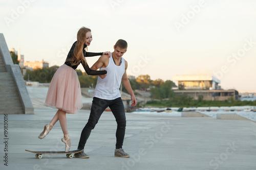 Fotobehang Muziek Happy couple on date