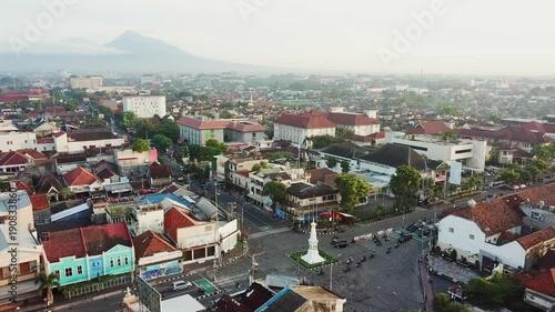 Aerial view of Tugu Monument in Yogyakarta, Indonesia