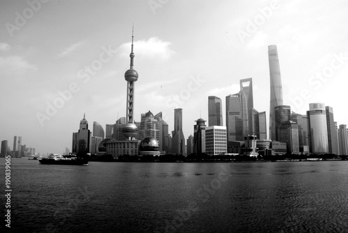 Poster Chicago Black and white picture of Shanghai panorama, China
