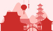 Background design with silhouette buildings in red