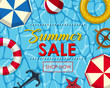 Summer sale poster design with floats on water