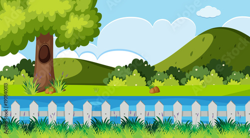 Papiers peints Piscine Nature scene with river and hills