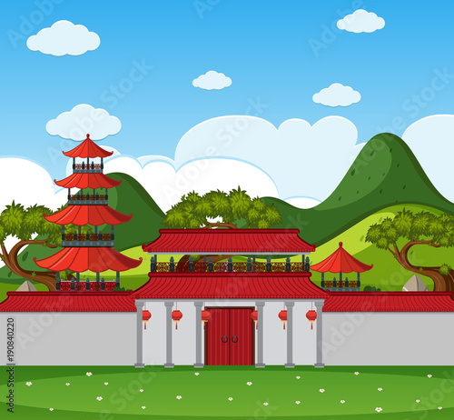 Foto op Aluminium Blauw Background scene with chinese buildings and wall
