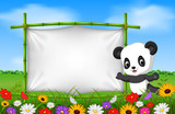Cartoon panda standing on a bamboo frame - 190841404
