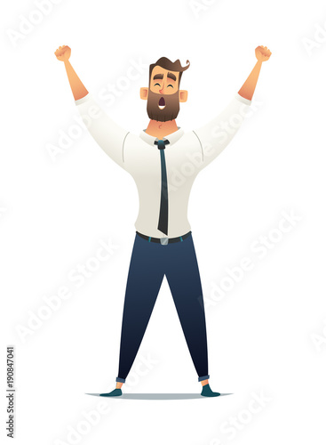 Businessman rejoices in victory. Manager raised his hands up in a sign of victory. Business success concept.