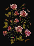 Embroidery roses, classical embroidery rose flowers with dew drops. Fashion template for clothes, textile t-shirt design - 190847807