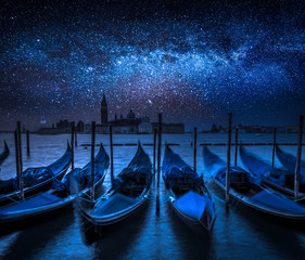 Milky way and Grand Canal in Venice, Italy