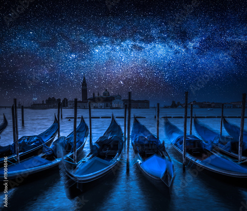 Foto op Canvas Venetie Milky way and Grand Canal in Venice, Italy