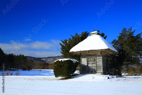 Foto op Canvas Donkerblauw 冬の荒神神社