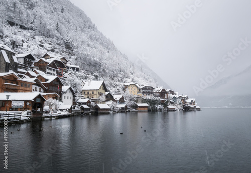 Hallstat village in the Austria. Beautiful village in the mountain valley near lake