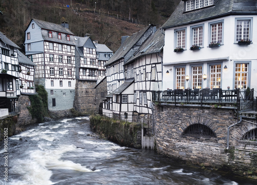 Monschau town in the Germany. Beautiful old and historical town