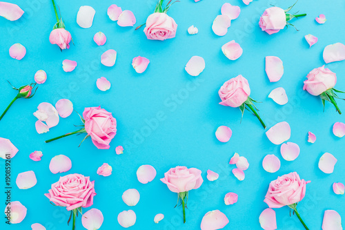Floral frame made of pink roses buds and petals on blue background. Flat lay, Top view. Spring time composition