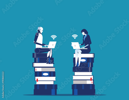 Wall mural Robot sitting on knowledge baseand strategy planning with human. Concept business technology vector illustration.