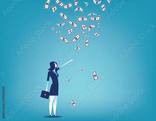 Businesswoman and money rain. Concept business vector illustration. Flat design style.