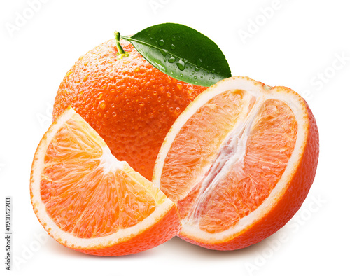 orange with slice and water drops isolated on a white background