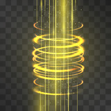 Laser stream through fire funnel light burning effect. Vector glowing swirling hot vortex cylinder of shining stardust sparkles on transparent background. Glittering flames of magical illumination. - 190866658