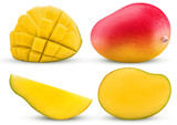 Collection mango exotic fruit, whole, cut in half, slice, cubes - 190871810