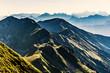 Quadro Silhouette kurz nach Sonnenaufgang vom Brienzergrat Richtung Brünig, Gebirgskette im Berner Oberland, Schweiz
